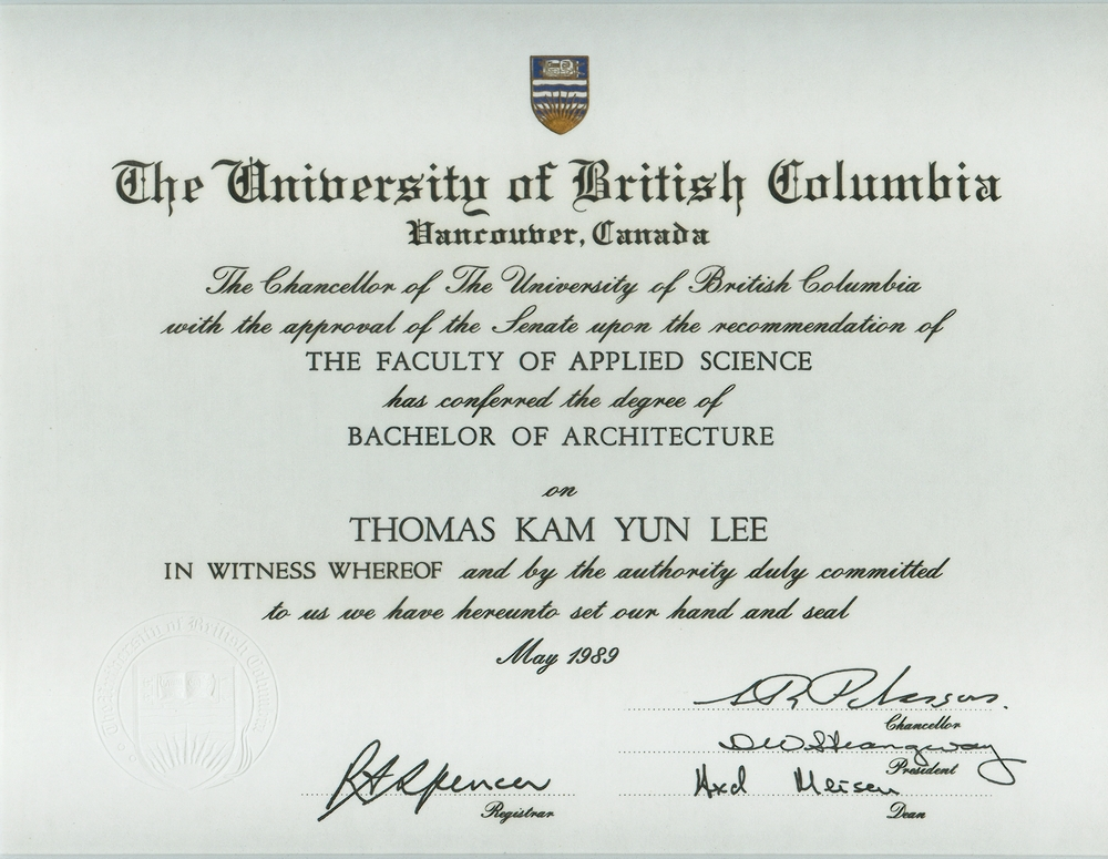 Thomas k lee for Bachelor of architektur