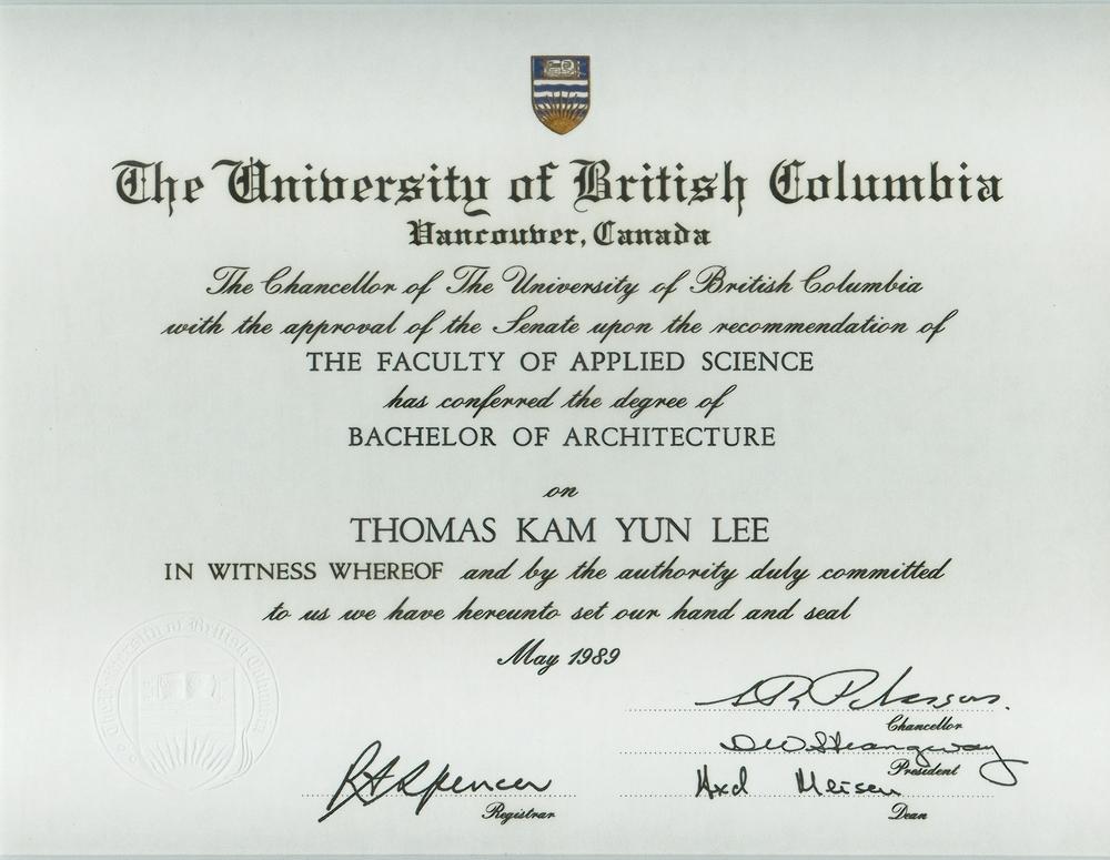 Thomas k lee for Bachelor of architektur